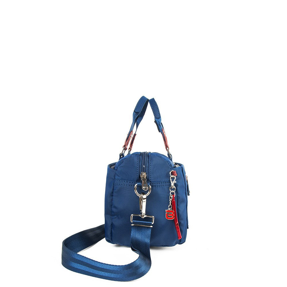 Satchel Handbag - Ginny Leather Trimmed Convertible Satchel Handbag With Red Whistle Dangle Side [Blue Spruce]