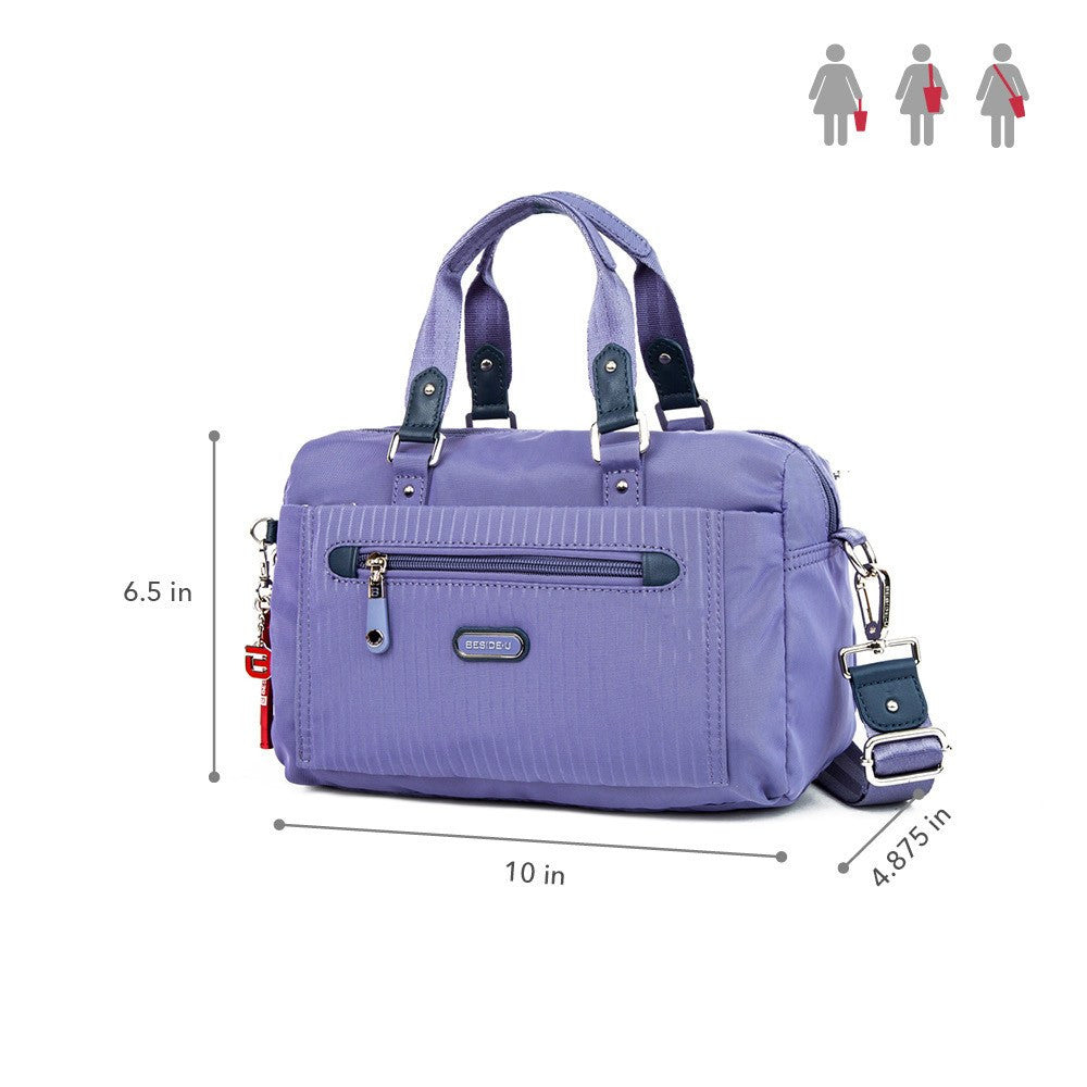 Satchel Handbag - Ginny Leather Trimmed Convertible Satchel Handbag With Red Whistle Dangle Size [Purple Spruce]