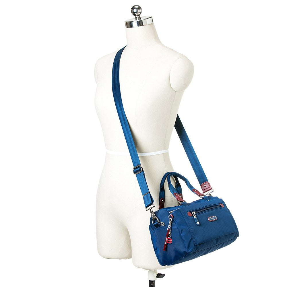 Satchel Handbag - Ginny Leather Trimmed Convertible Satchel Handbag With Red Whistle Dangle Mannequin