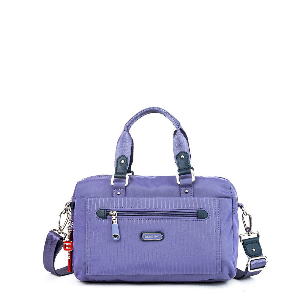 Satchel Handbag - Ginny Leather Trimmed Convertible Satchel Handbag With Red Whistle Dangle Front [Purple Spruce]