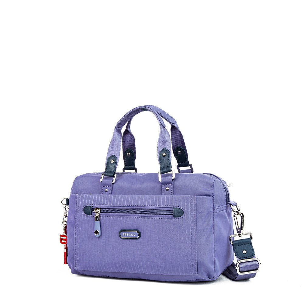 Satchel Handbag - Ginny Leather Trimmed Convertible Satchel Handbag With Red Whistle Dangle Angled [Purple Spruce]