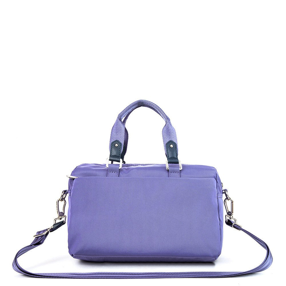 Satchel Handbag - Ginny Leather Trimmed Convertible Satchel Handbag With Red Whistle Dangle Back [Purple Spruce]