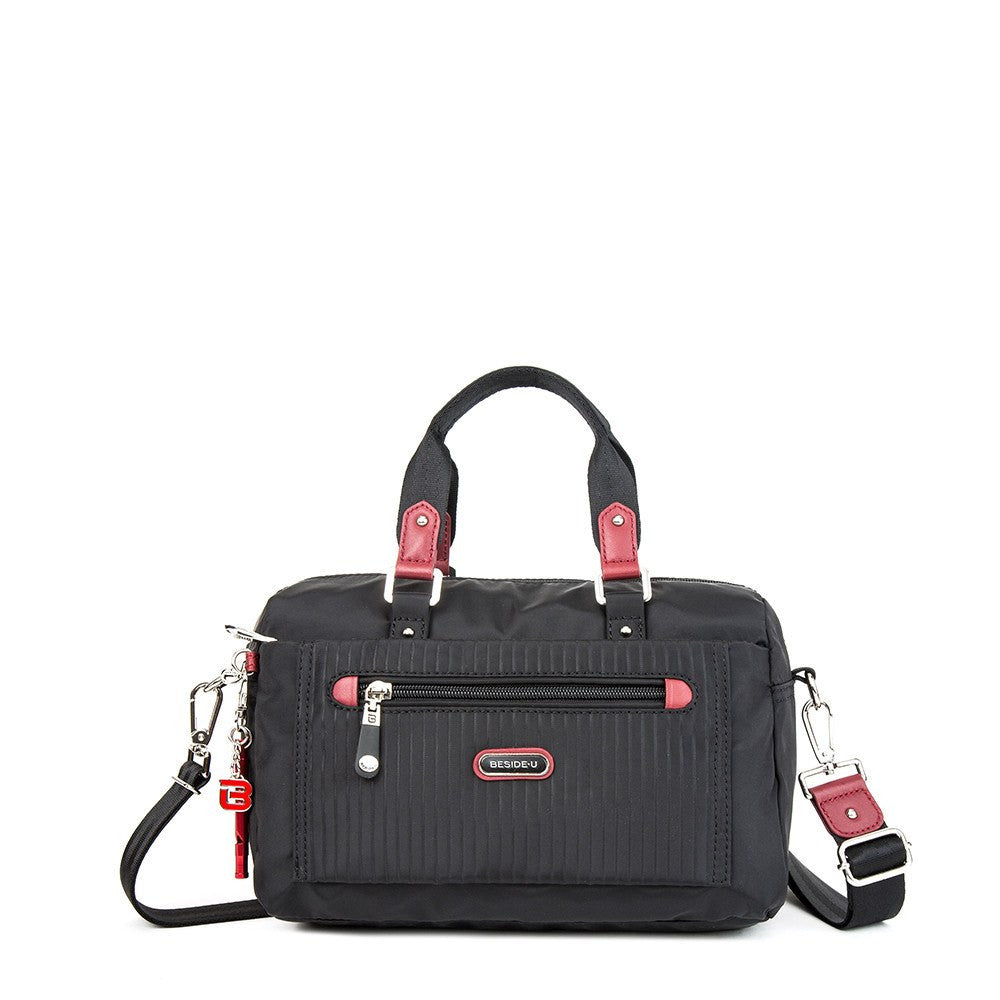 Satchel Handbag - Ginny Leather Trimmed Convertible Satchel Handbag With Red Whistle Dangle Front [Black And Brown Red]