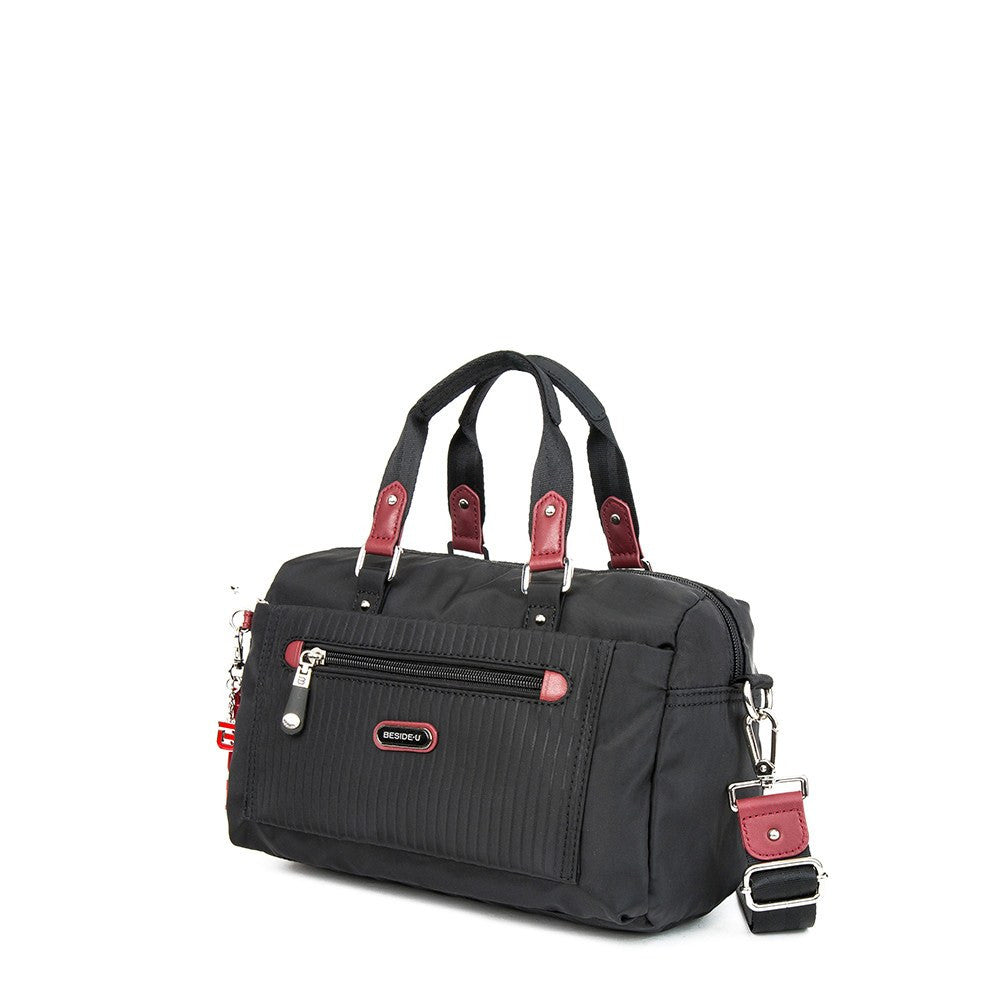 Satchel Handbag - Ginny Leather Trimmed Convertible Satchel Handbag With Red Whistle Dangle Angled [Black And Brown Red]