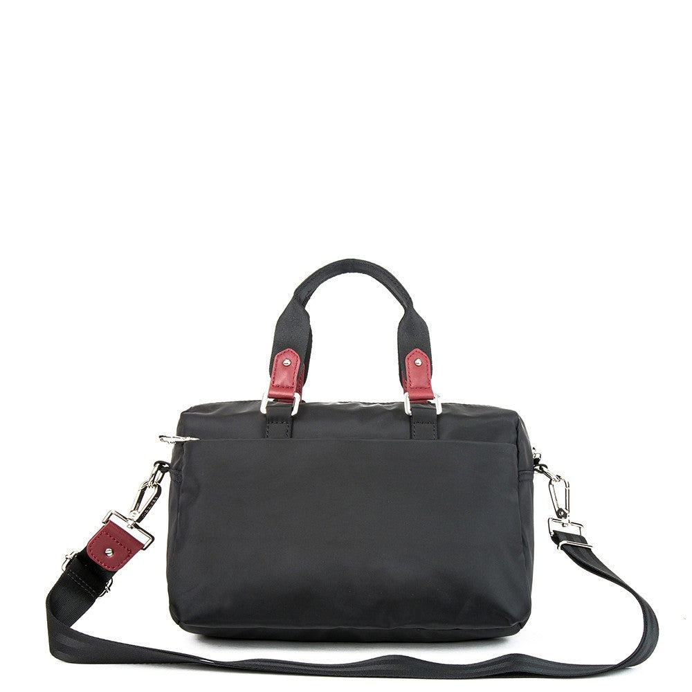 Satchel Handbag - Ginny Leather Trimmed Convertible Satchel Handbag With Red Whistle Dangle Back [Black And Brown Red]