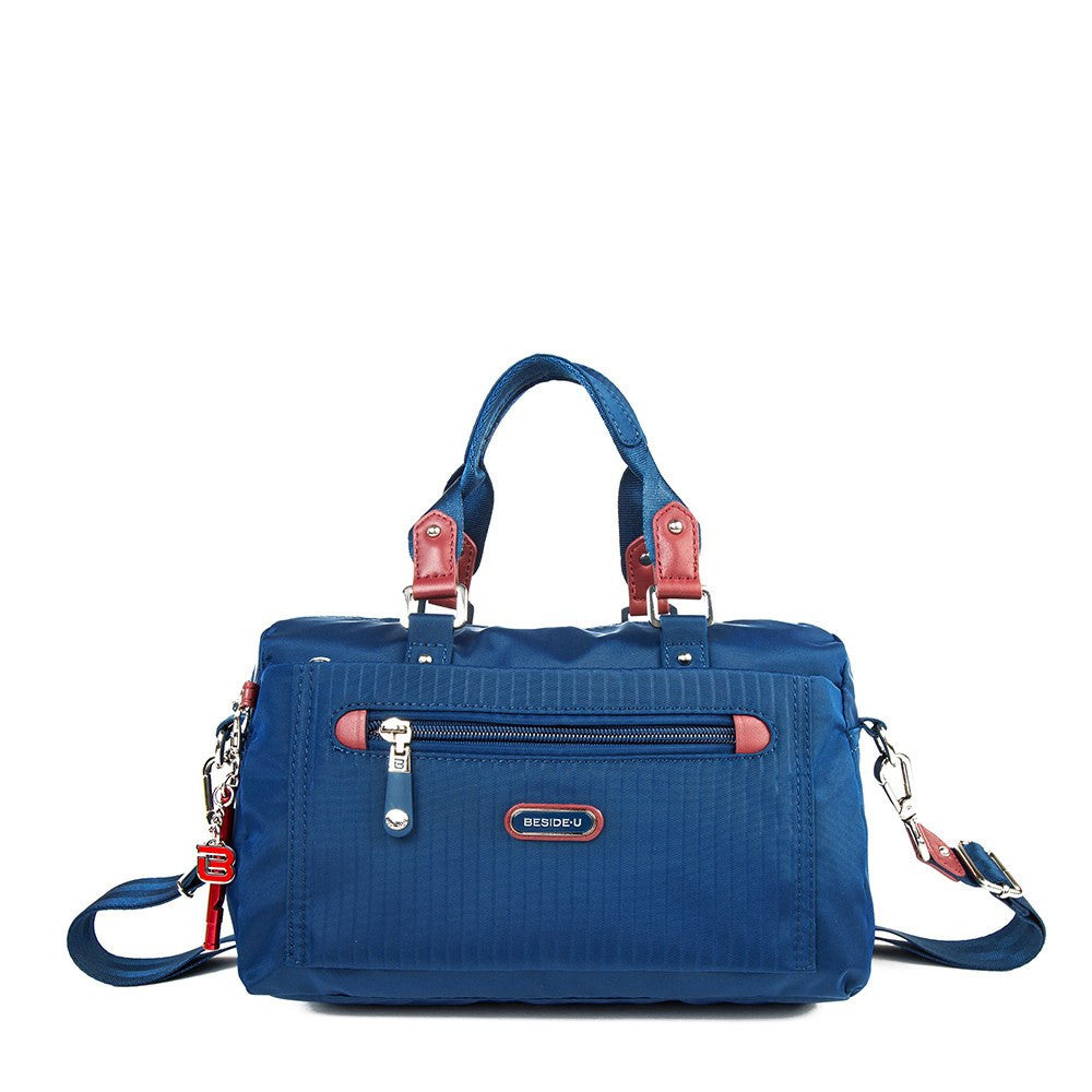 Satchel Handbag - Ginny Leather Trimmed Convertible Satchel Handbag With Red Whistle Dangle Front [Blue Spruce]