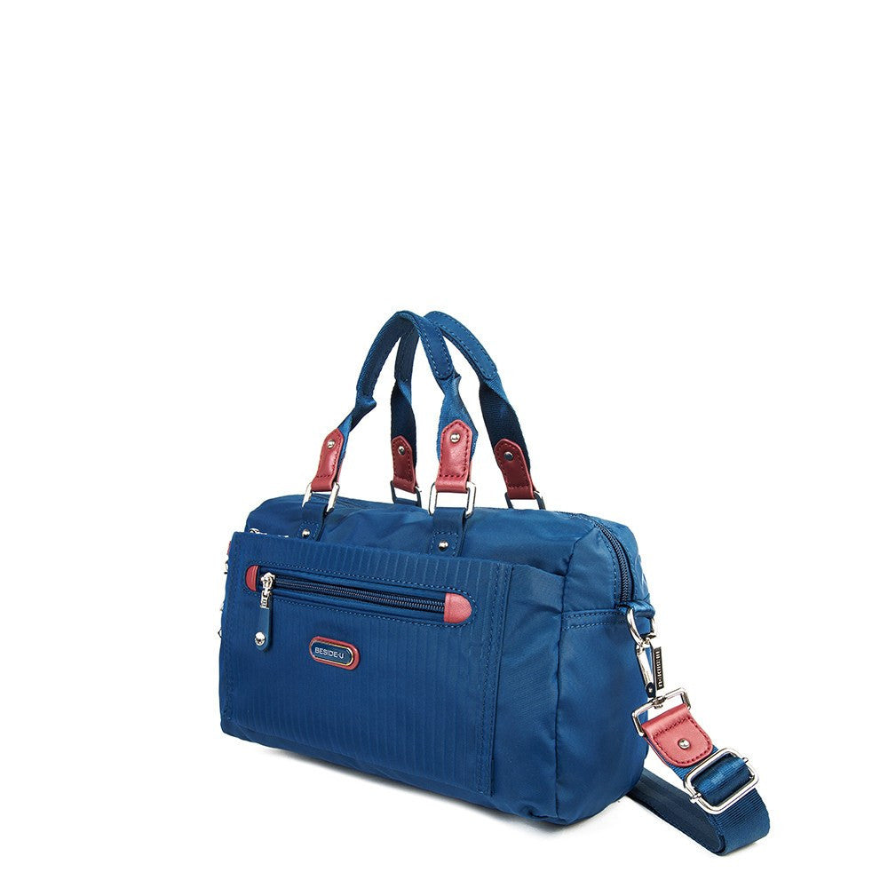Satchel Handbag - Ginny Leather Trimmed Convertible Satchel Handbag With Red Whistle Dangle Angled [Blue Spruce]