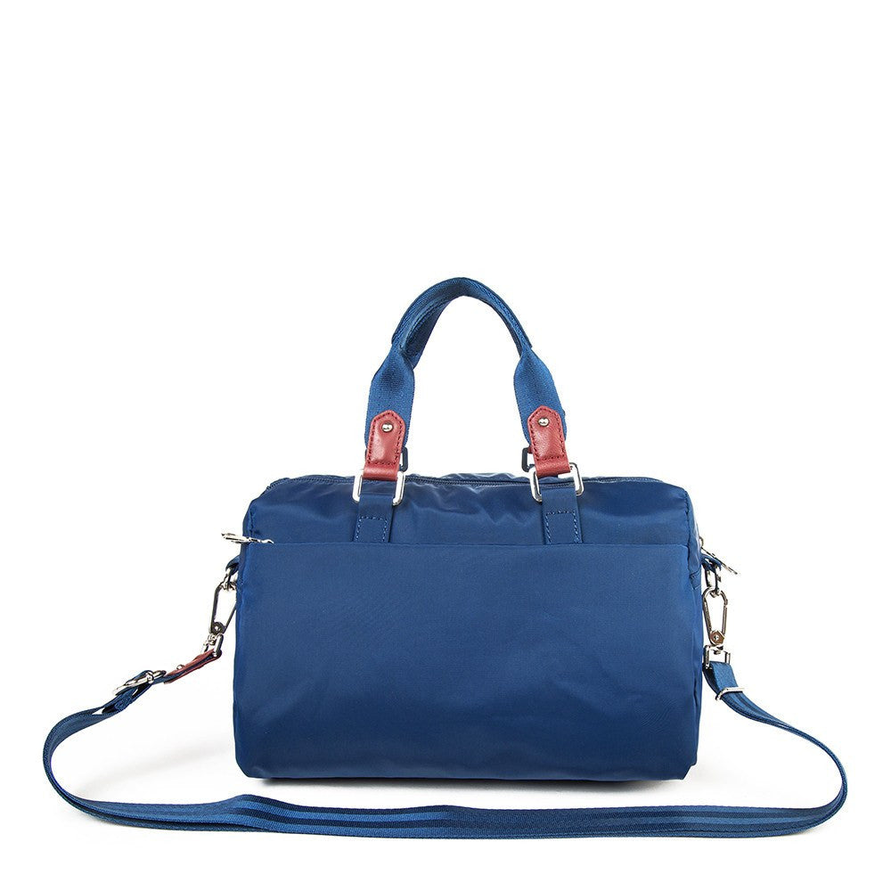 Satchel Handbag - Ginny Leather Trimmed Convertible Satchel Handbag With Red Whistle Dangle Back [Blue Spruce]