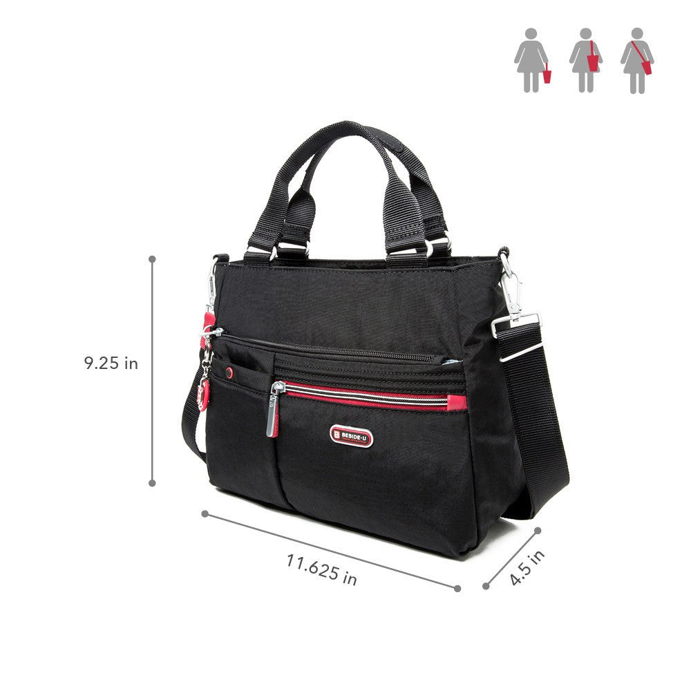 Satchel Handbag - Kenora Two-Tone Convertible Satchel Handbag Size [Black And Dark Red]