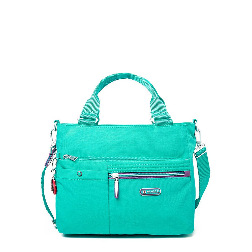 Satchel Handbag - Kenora Two-Tone Convertible Satchel Handbag Front [Atlantis Teal Blue]