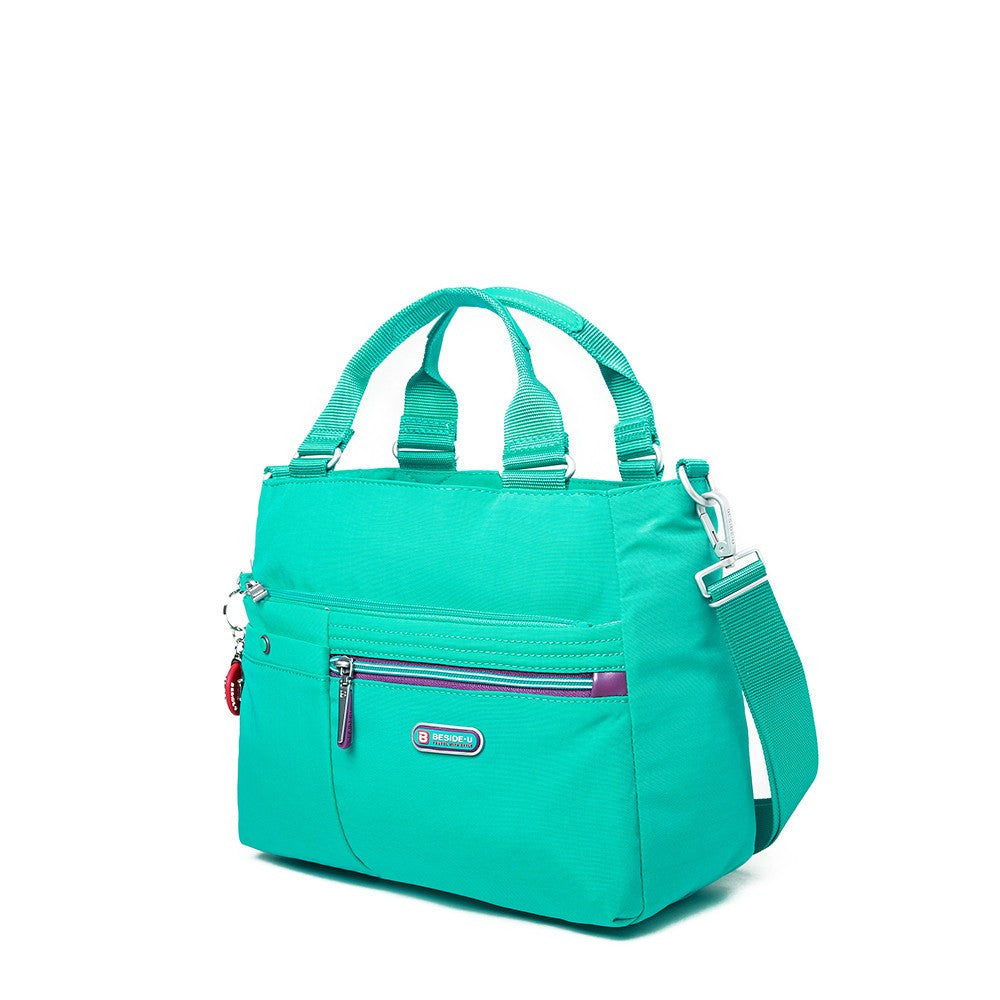 Satchel Handbag - Kenora Two-Tone Convertible Satchel Handbag Angled [Atlantis Teal Blue]
