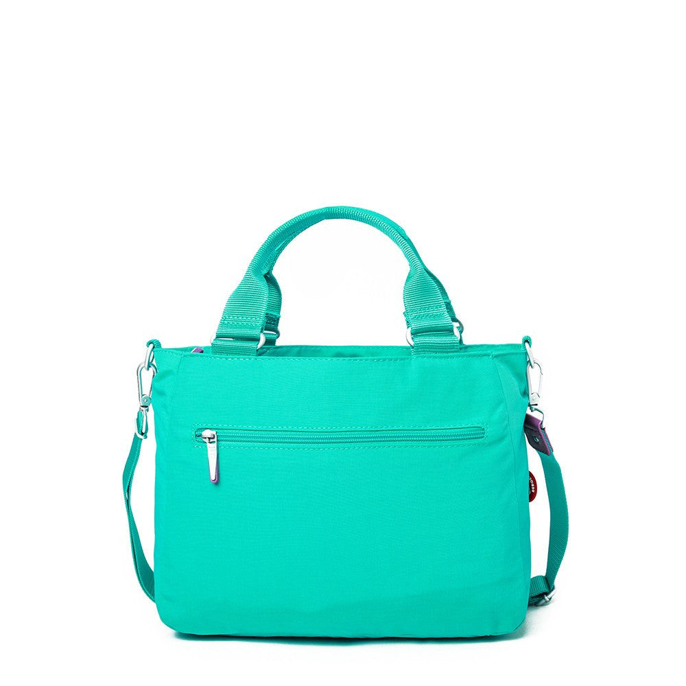Satchel Handbag - Kenora Two-Tone Convertible Satchel Handbag Back [Atlantis Teal Blue]