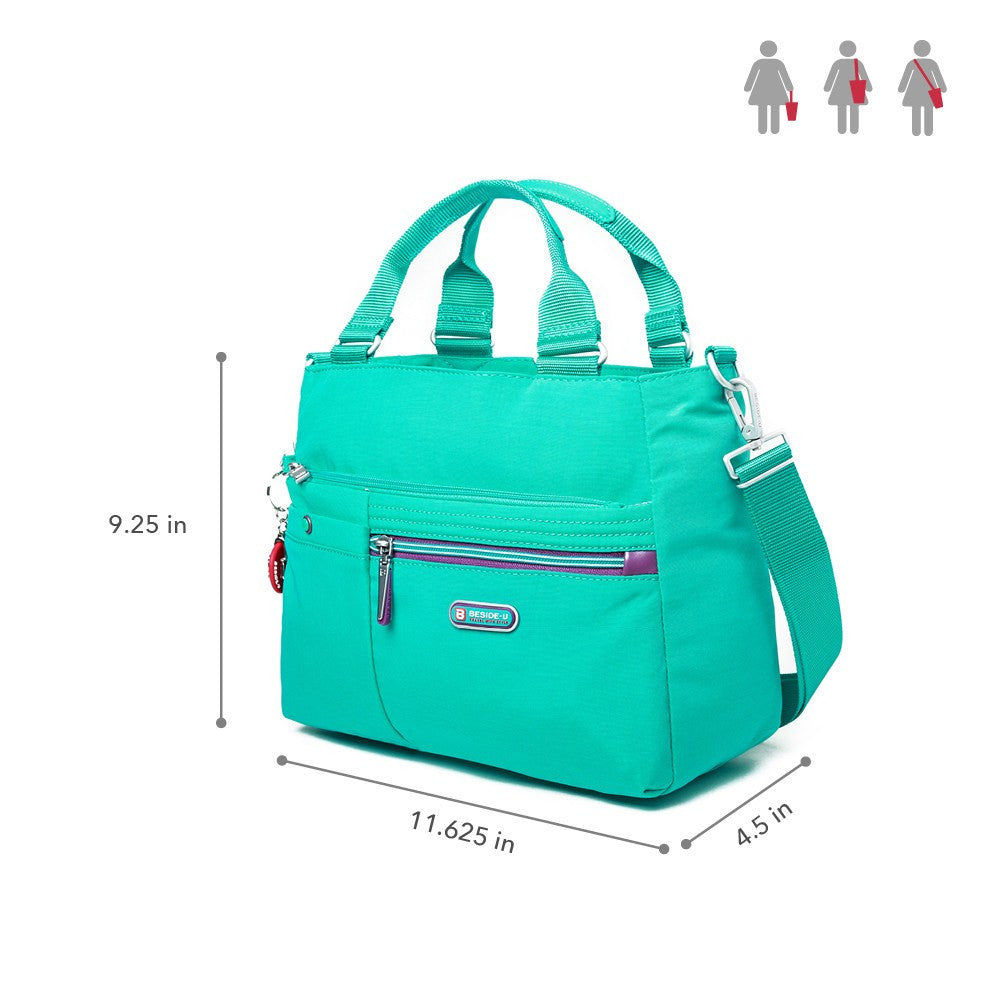Satchel Handbag - Kenora Two-Tone Convertible Satchel Handbag Size [Atlantis Teal Blue]