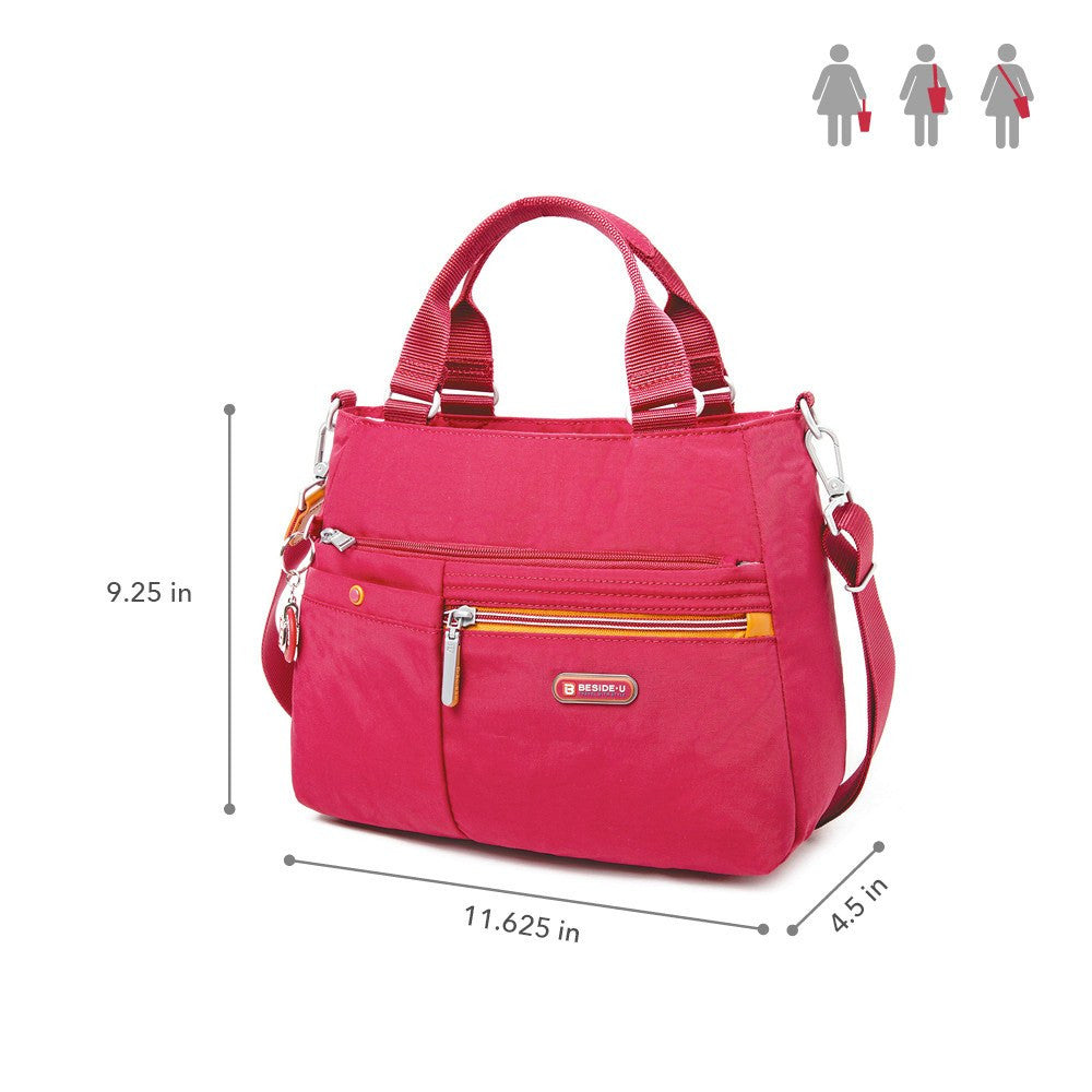 Satchel Handbag - Kenora Two-Tone Convertible Satchel Handbag Size [Heart Red]