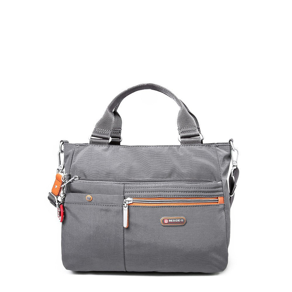 Satchel Handbag - Kenora Two-Tone Convertible Satchel Handbag Front [Castlerock Grey]