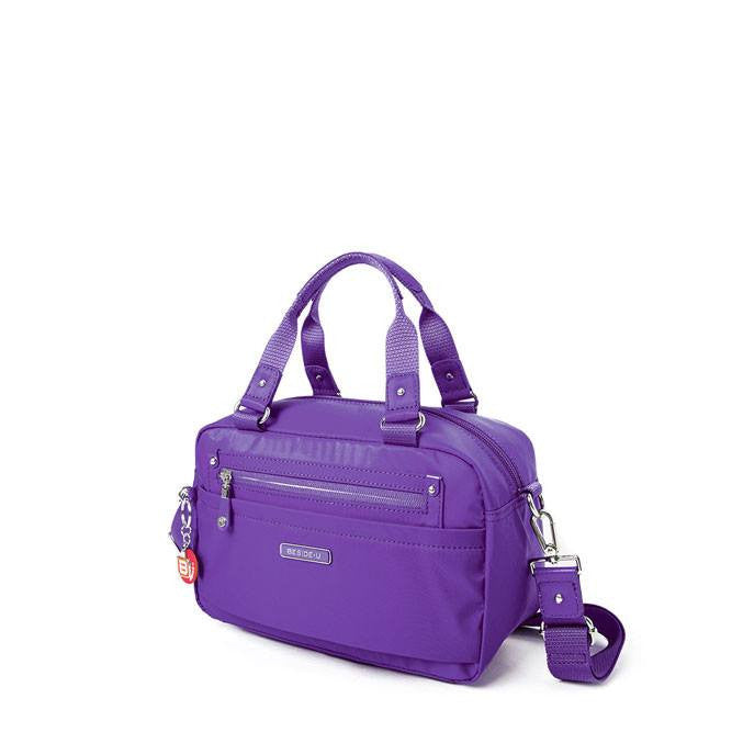 Satchel Handbag - Maarten Leather Trimmed Convertible Satchel Handbag With Round Dangle Angled [Majesty Purple]