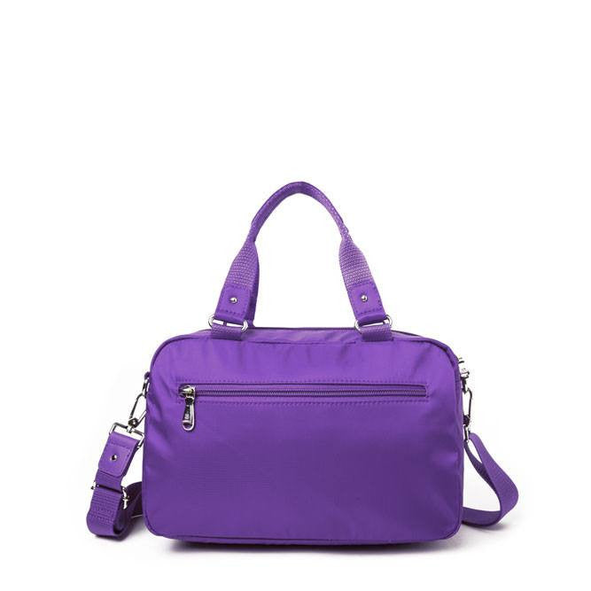 Satchel Handbag - Maarten Leather Trimmed Convertible Satchel Handbag With Round Dangle Back [Majesty Purple]