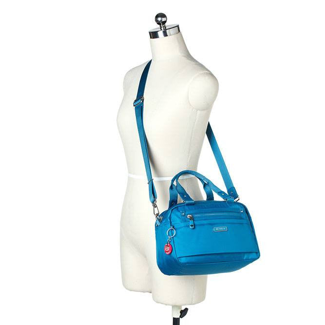 Satchel Handbag - Maarten Leather Trimmed Convertible Satchel Handbag With Round Dangle Mannequin