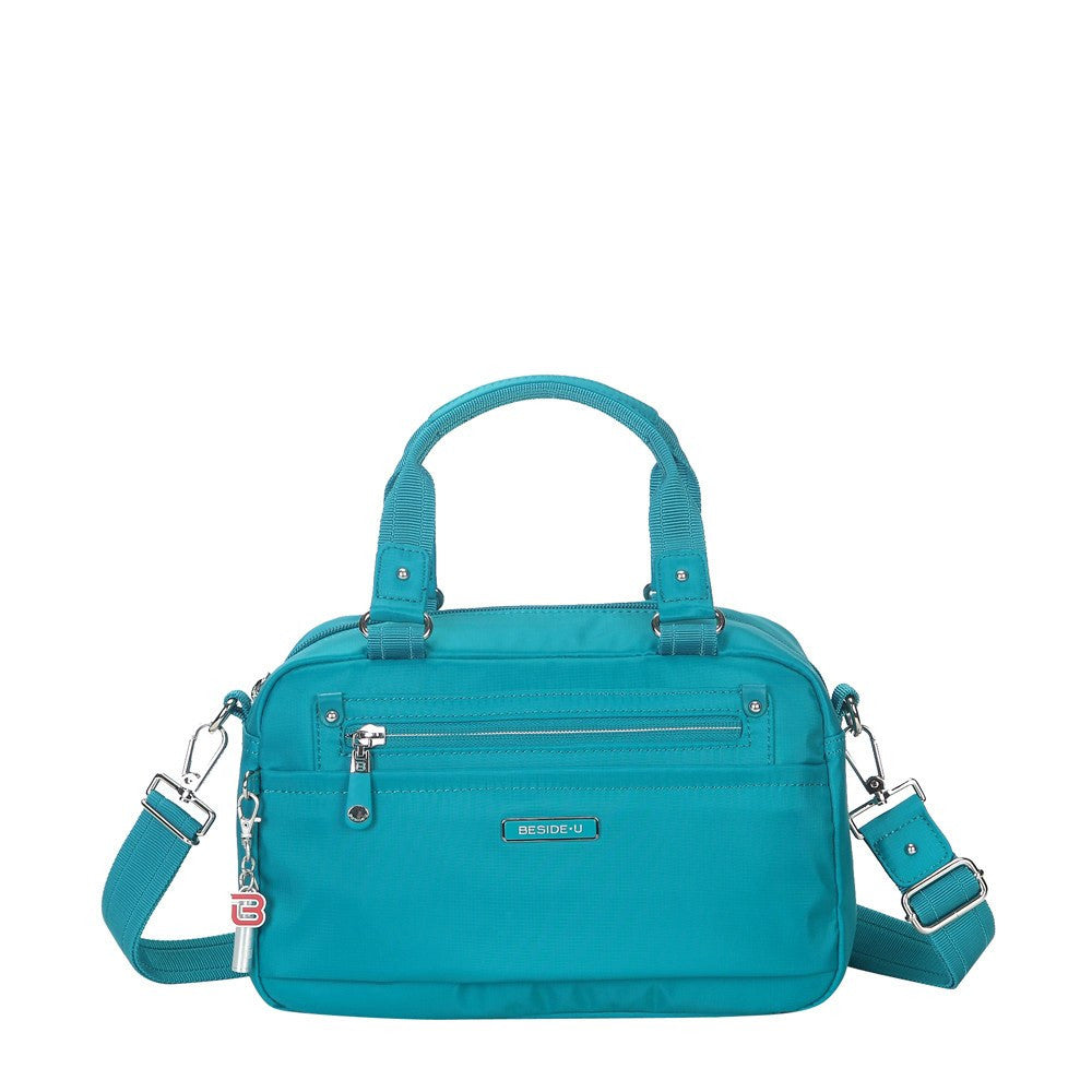 Satchel Handbag - Maarten Leather Trimmed Convertible Satchel Handbag With Whistle Dangle Front [Ocean Blue]