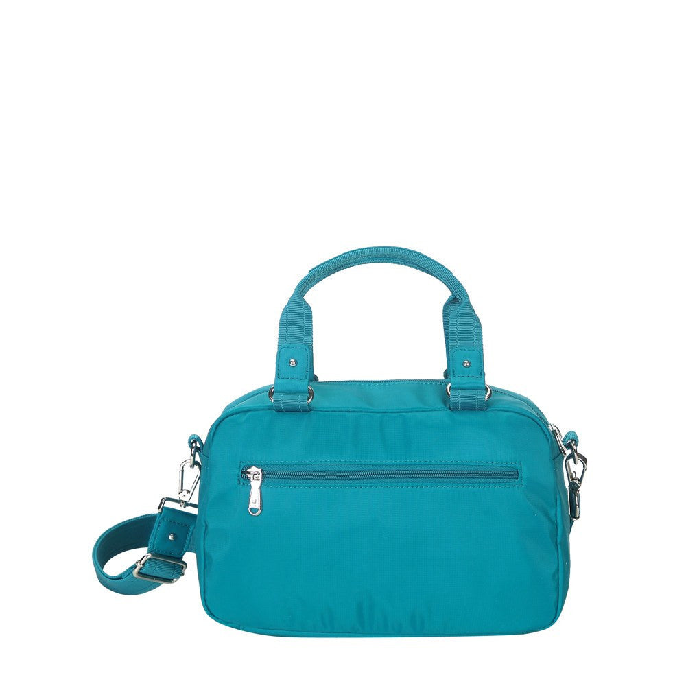 Satchel Handbag - Maarten Leather Trimmed Convertible Satchel Handbag With Whistle Dangle Back [Ocean Blue]