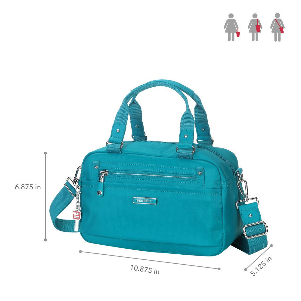 Satchel Handbag - Maarten Leather Trimmed Convertible Satchel Handbag With Whistle Dangle Size [Ocean Blue]