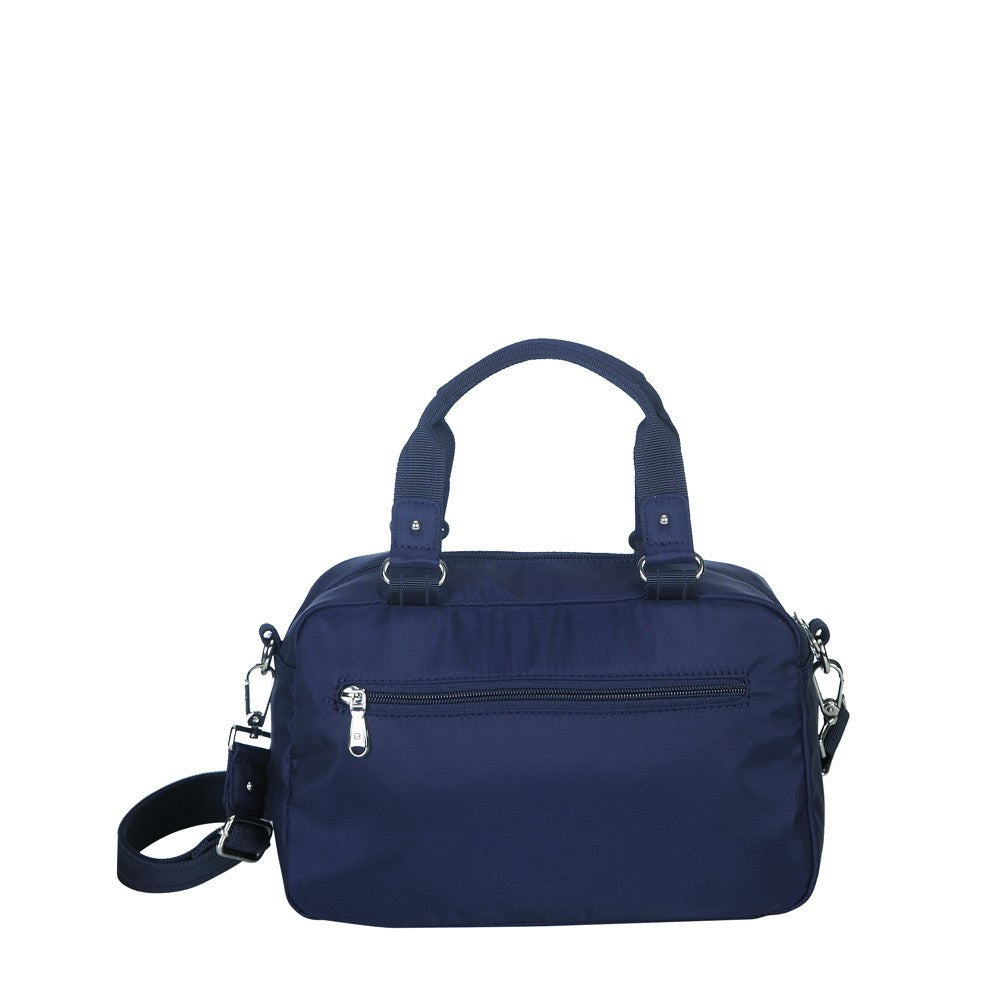 Satchel Handbag - Maarten Leather Trimmed Convertible Satchel Handbag With Whistle Dangle Back [Evening Blue]