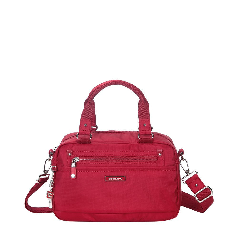 Satchel Handbag - Maarten Leather Trimmed Convertible Satchel Handbag With Whistle Dangle Front [Jester Red]