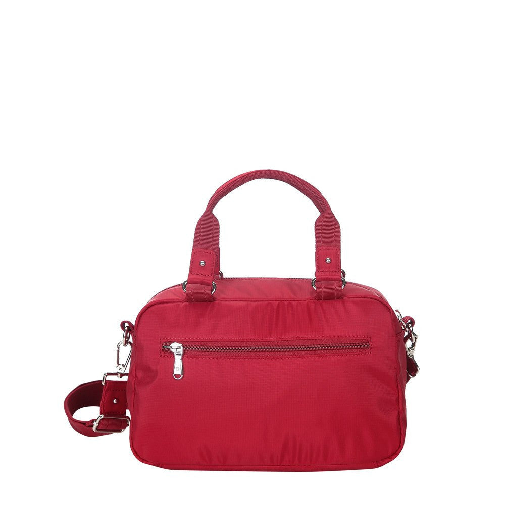 Satchel Handbag - Maarten Leather Trimmed Convertible Satchel Handbag With Whistle Dangle Back [Jester Red]