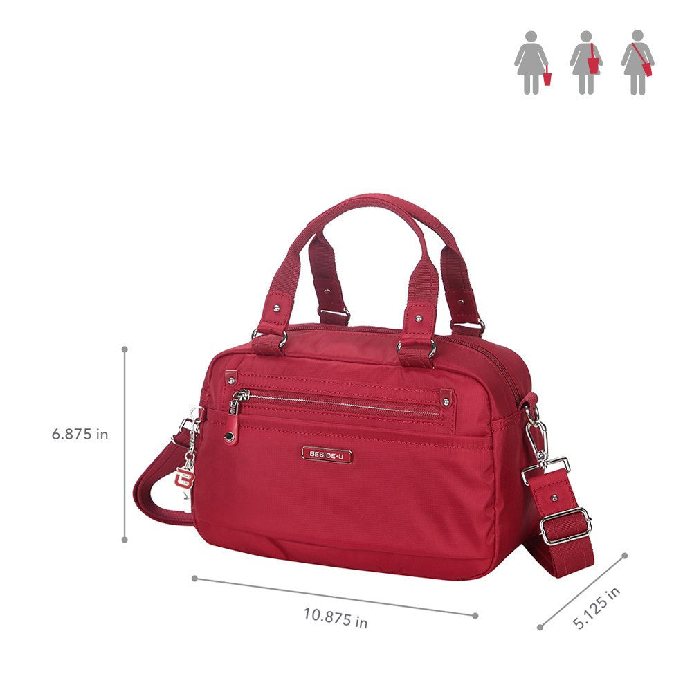 Satchel Handbag - Maarten Leather Trimmed Convertible Satchel Handbag With Whistle Dangle Size [Jester Red]