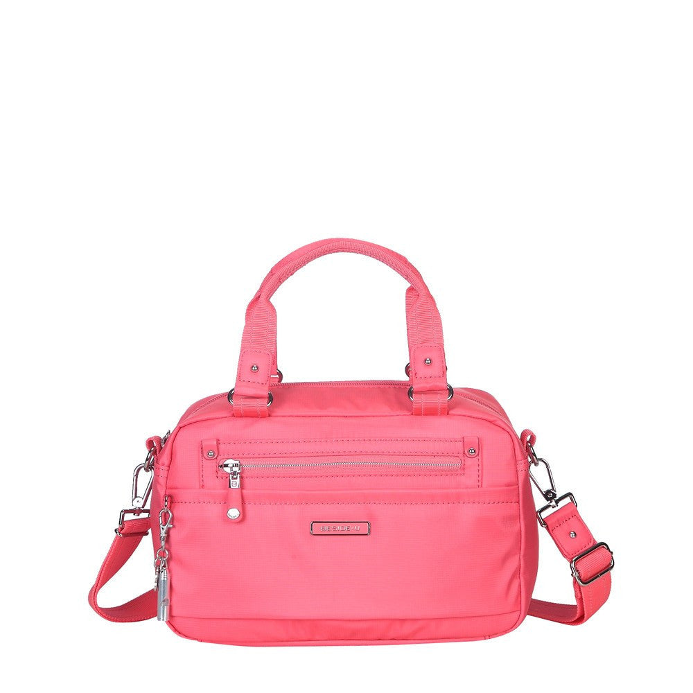 Satchel Handbag - Maarten Leather Trimmed Convertible Satchel Handbag With Whistle Dangle Front [Coral Pink]