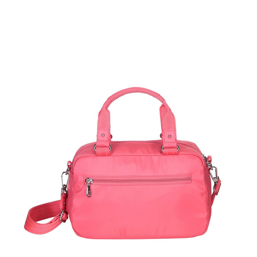 Satchel Handbag - Maarten Leather Trimmed Convertible Satchel Handbag With Whistle Dangle Back [Coral Pink]