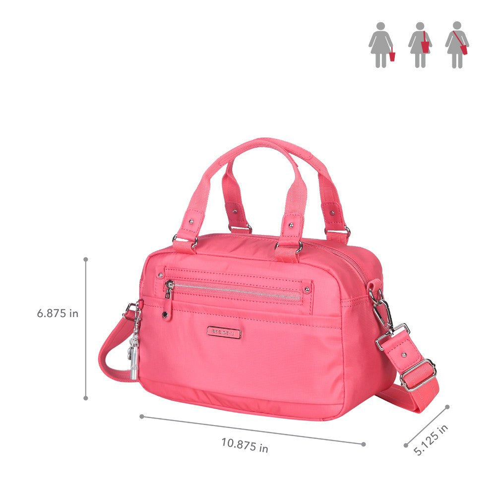 Satchel Handbag - Maarten Leather Trimmed Convertible Satchel Handbag With Whistle Dangle Size [Coral Pink]