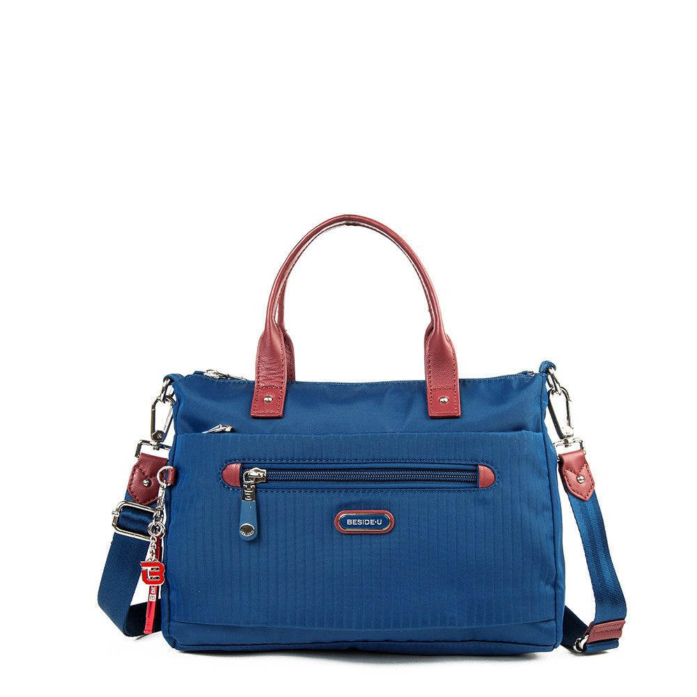 Satchel Handbag - Micheala Leather Trimmed Compact Satchel Handbag With Red Whistle Dangle Front [Blue Spruce]