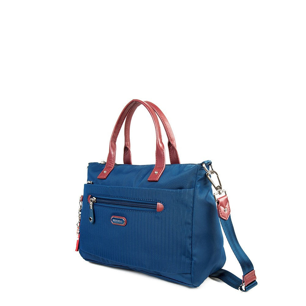 Satchel Handbag - Micheala Leather Trimmed Compact Satchel Handbag With Red Whistle Dangle Angled [Blue Spruce]
