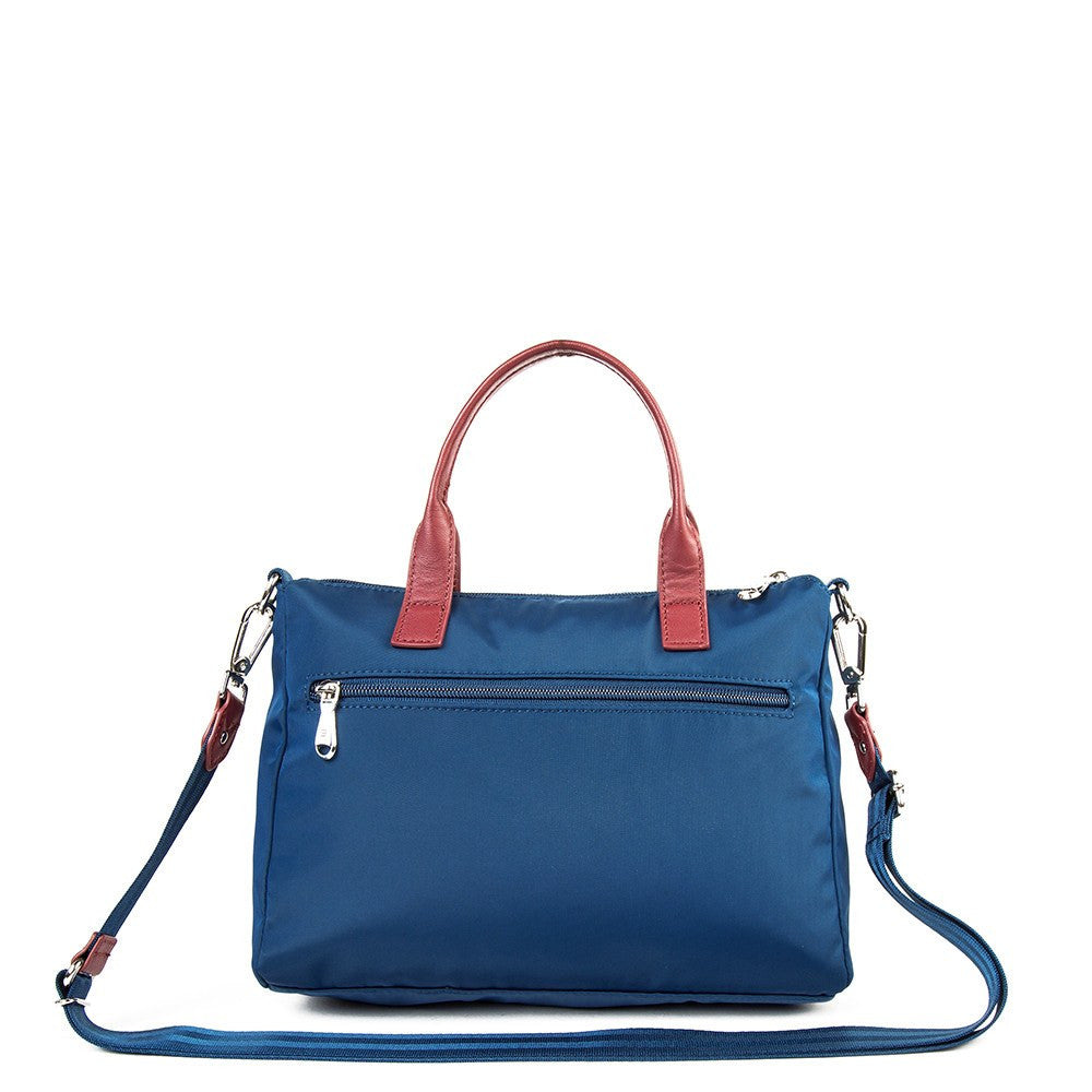 Satchel Handbag - Micheala Leather Trimmed Compact Satchel Handbag With Red Whistle Dangle Back [Blue Spruce]