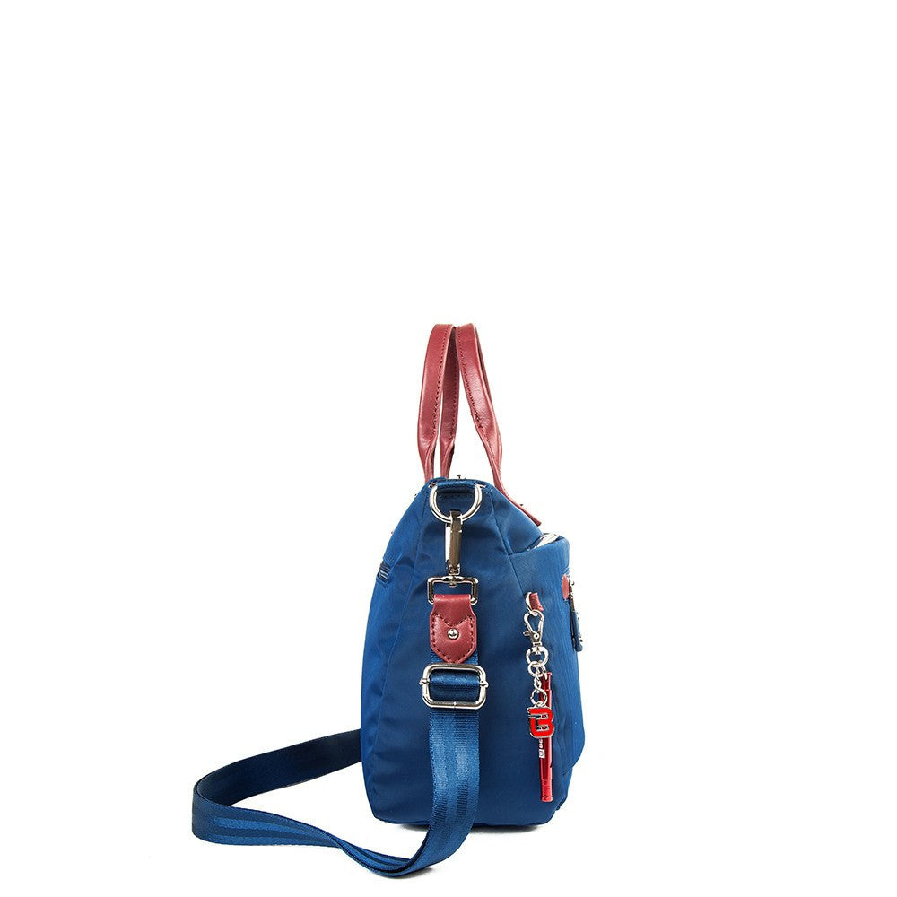 Satchel Handbag - Micheala Leather Trimmed Compact Satchel Handbag With Red Whistle Dangle Side [Blue Spruce]