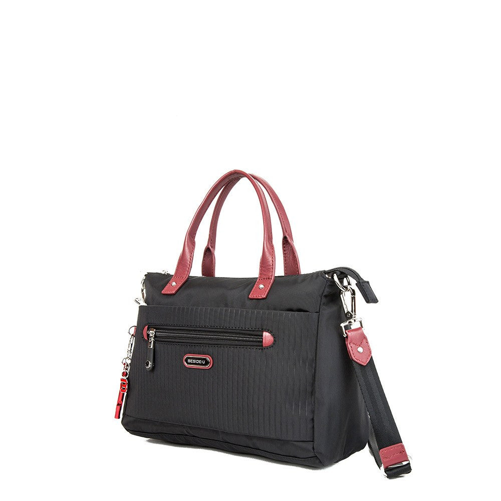 Satchel Handbag - Micheala Leather Trimmed Compact Satchel Handbag With Red Whistle Dangle Angled [Black And Brown Red]