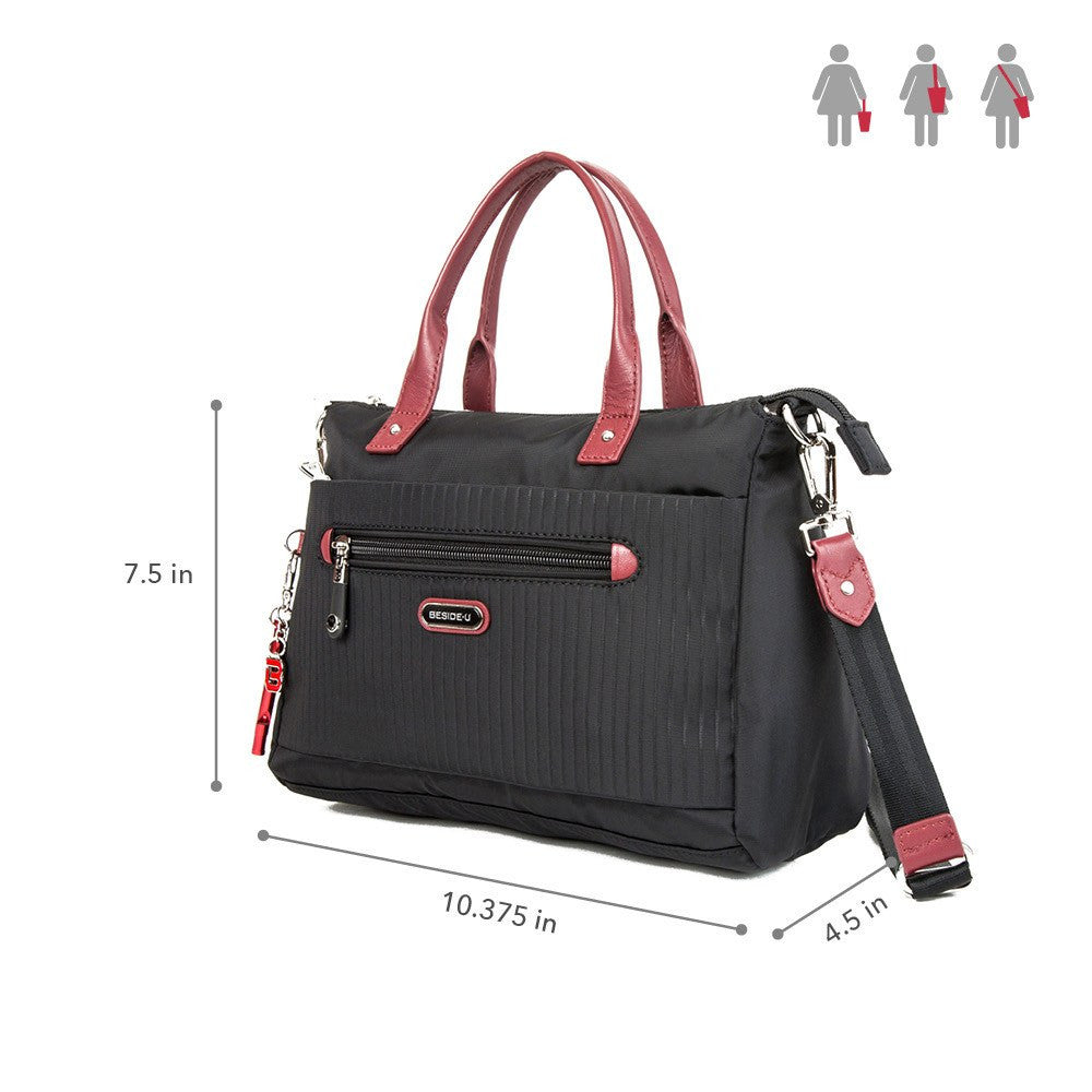 Satchel Handbag - Micheala Leather Trimmed Compact Satchel Handbag With Red Whistle Dangle Size [Black And Brown Red]