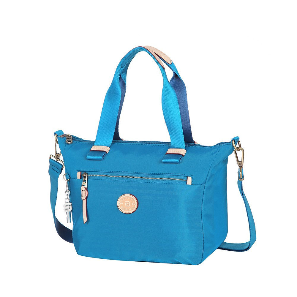 Satchel Handbag - Mirabel Leather Trimmed Convertible Satchel Handbag Angled [Cowboy Blue]