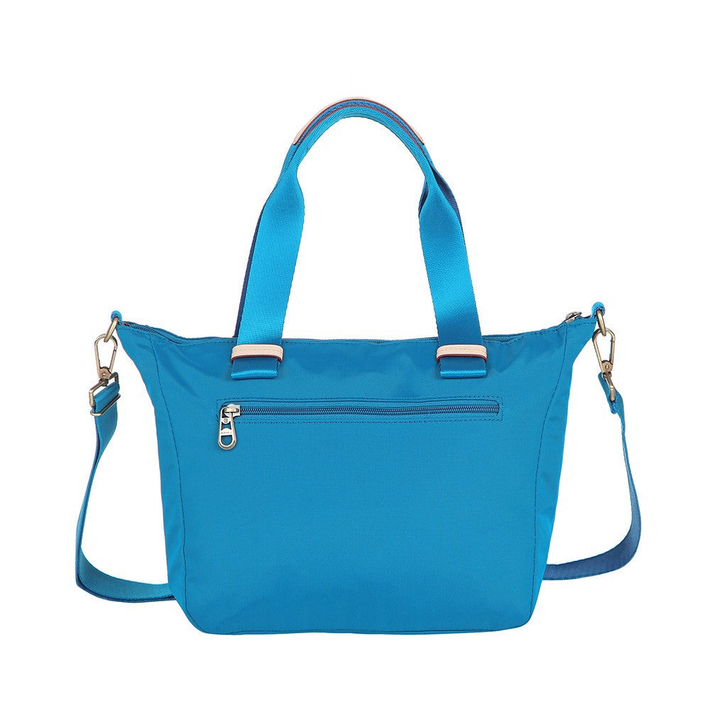 Satchel Handbag - Mirabel Leather Trimmed Convertible Satchel Handbag Back [Cowboy Blue]