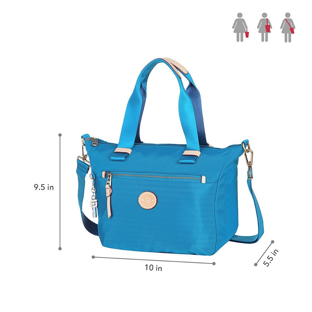 Satchel Handbag - Mirabel Leather Trimmed Convertible Satchel Handbag Size [Cowboy Blue]