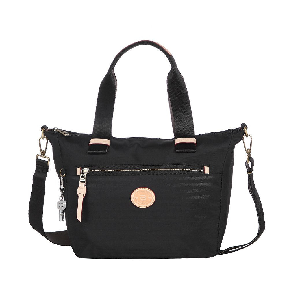 Satchel Handbag - Mirabel Leather Trimmed Convertible Satchel Handbag Front [Black]