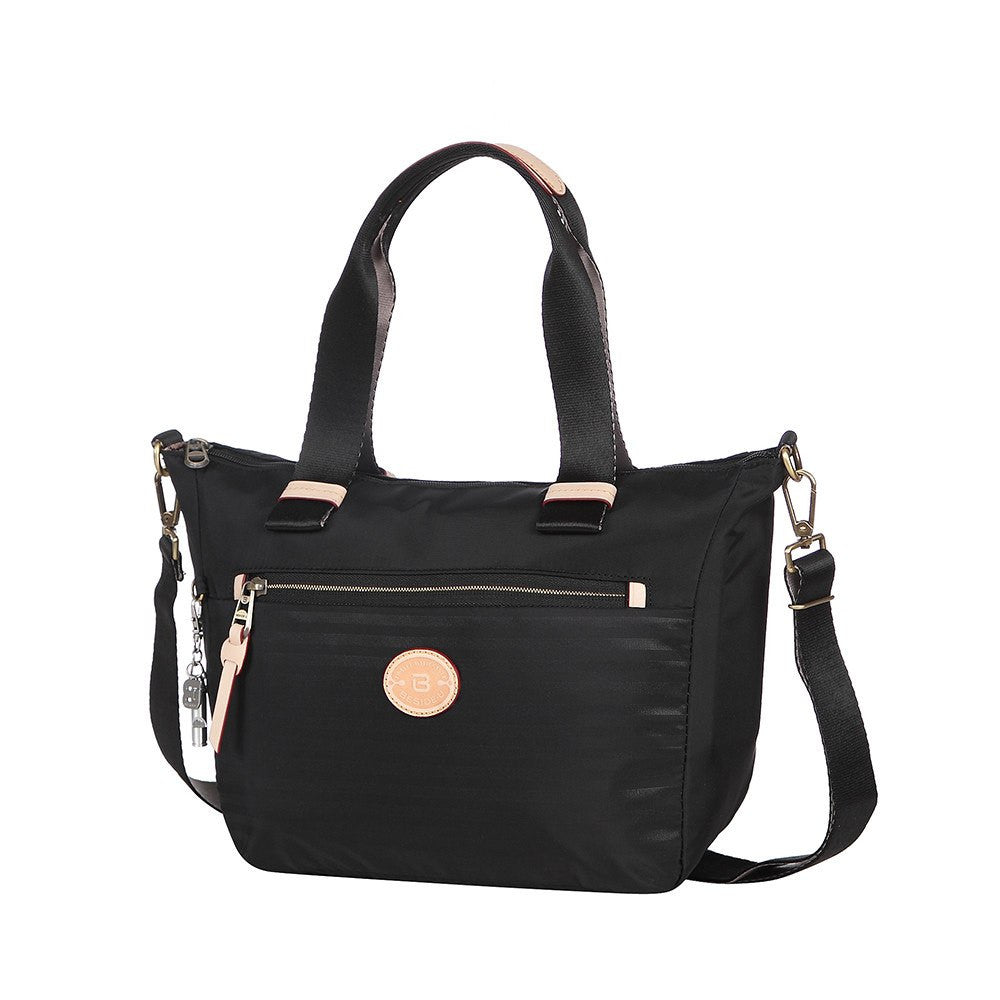 Satchel Handbag - Mirabel Leather Trimmed Convertible Satchel Handbag Angled [Black]