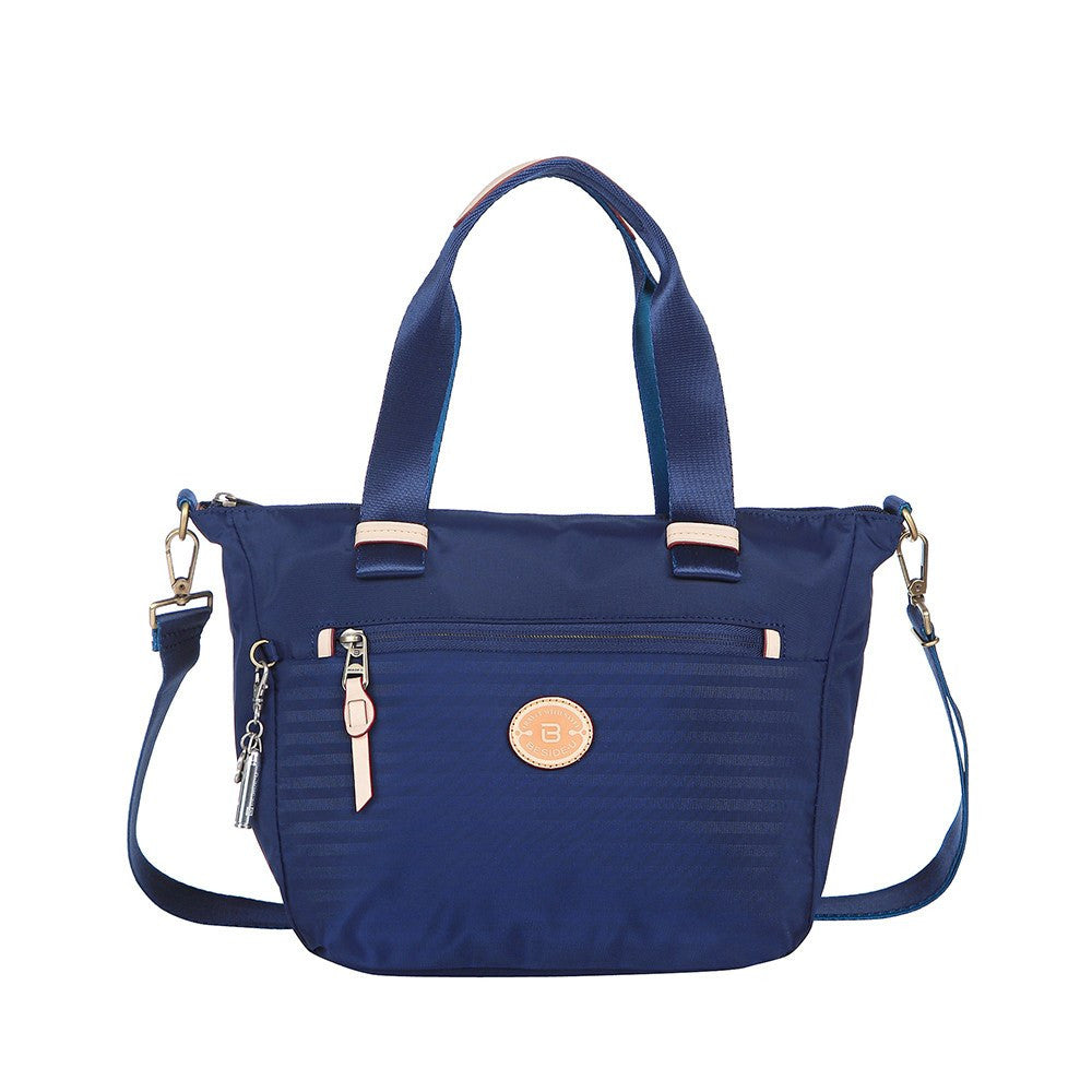 Satchel Handbag - Mirabel Leather Trimmed Convertible Satchel Handbag Front [Evening Blue]