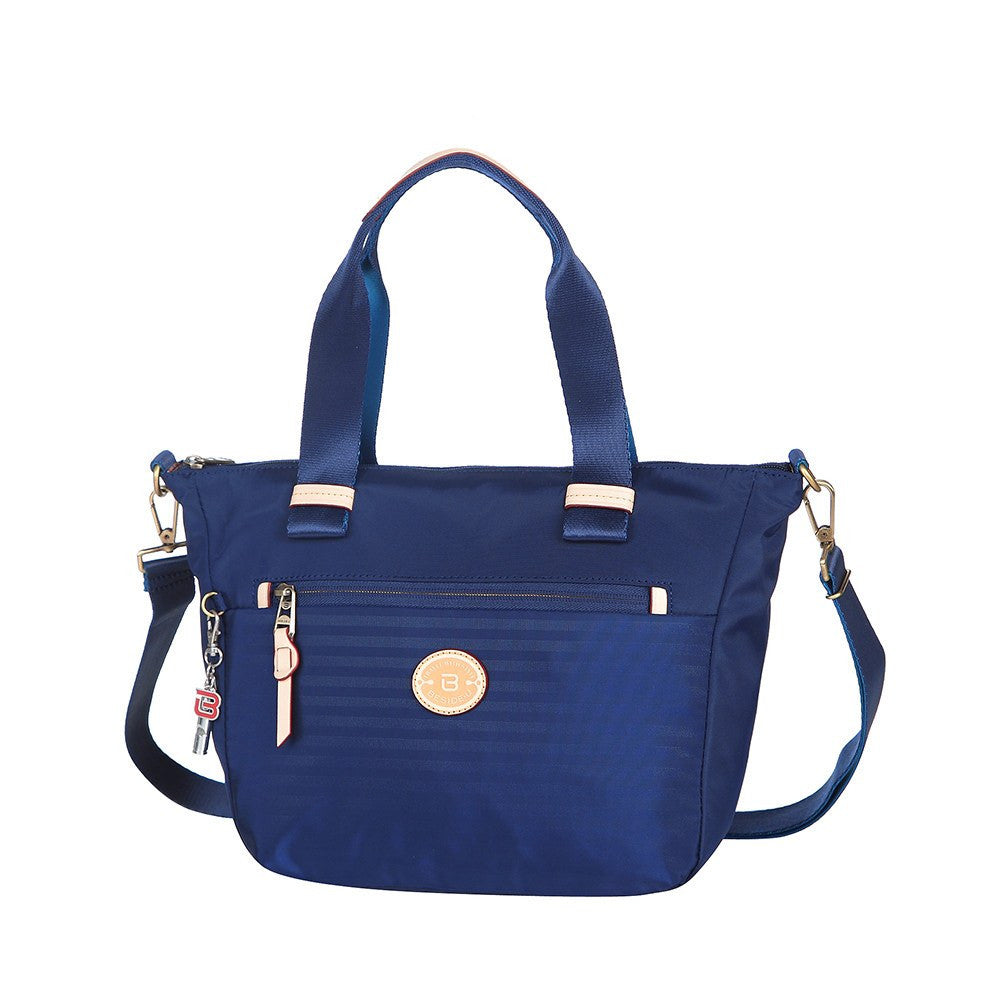 Satchel Handbag - Mirabel Leather Trimmed Convertible Satchel Handbag Angled [Evening Blue]