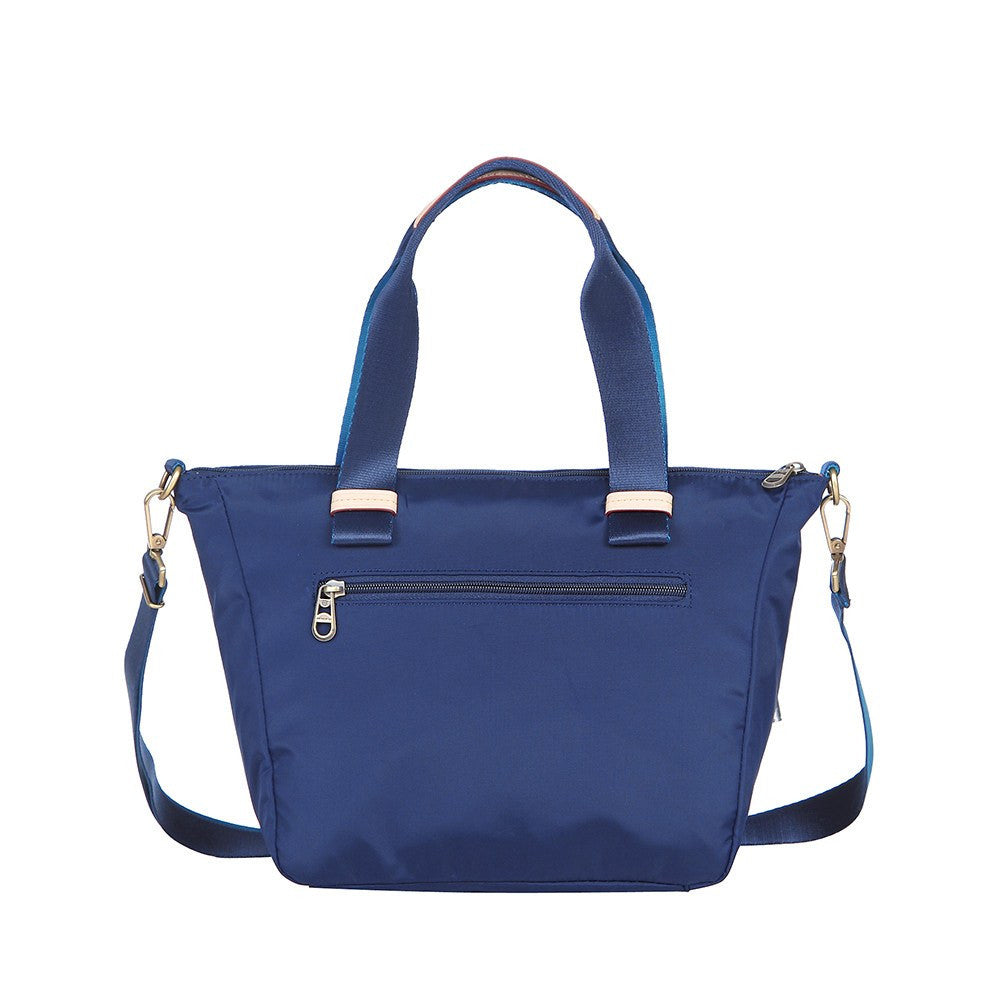 Satchel Handbag - Mirabel Leather Trimmed Convertible Satchel Handbag Back [Evening Blue]