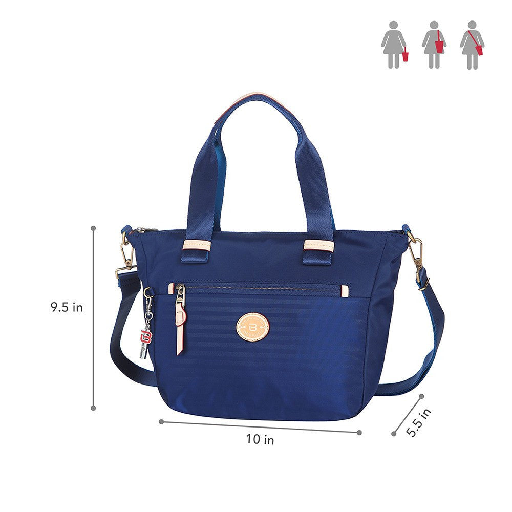Satchel Handbag - Mirabel Leather Trimmed Convertible Satchel Handbag Size [Evening Blue]