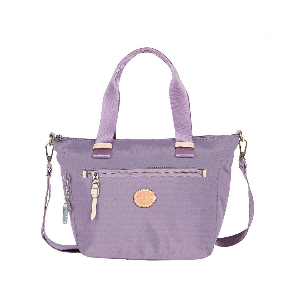 Satchel Handbag - Mirabel Leather Trimmed Convertible Satchel Handbag Front [Grapeade Purple]