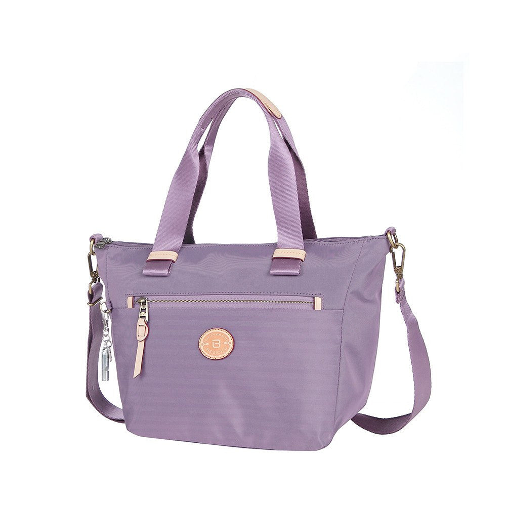 Satchel Handbag - Mirabel Leather Trimmed Convertible Satchel Handbag Angled [Grapeade Purple]