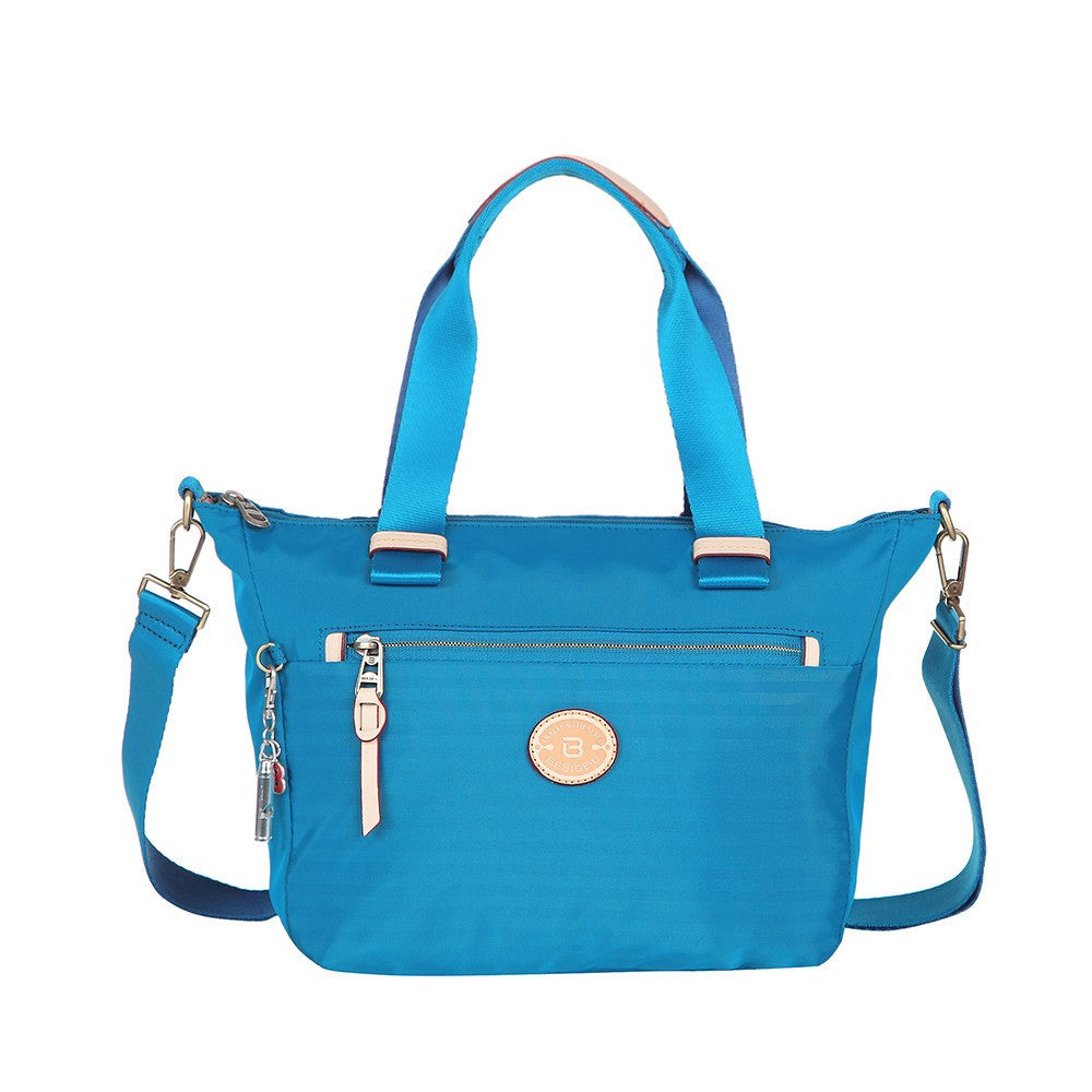 Satchel Handbag - Mirabel Leather Trimmed Convertible Satchel Handbag Front [Cowboy Blue]
